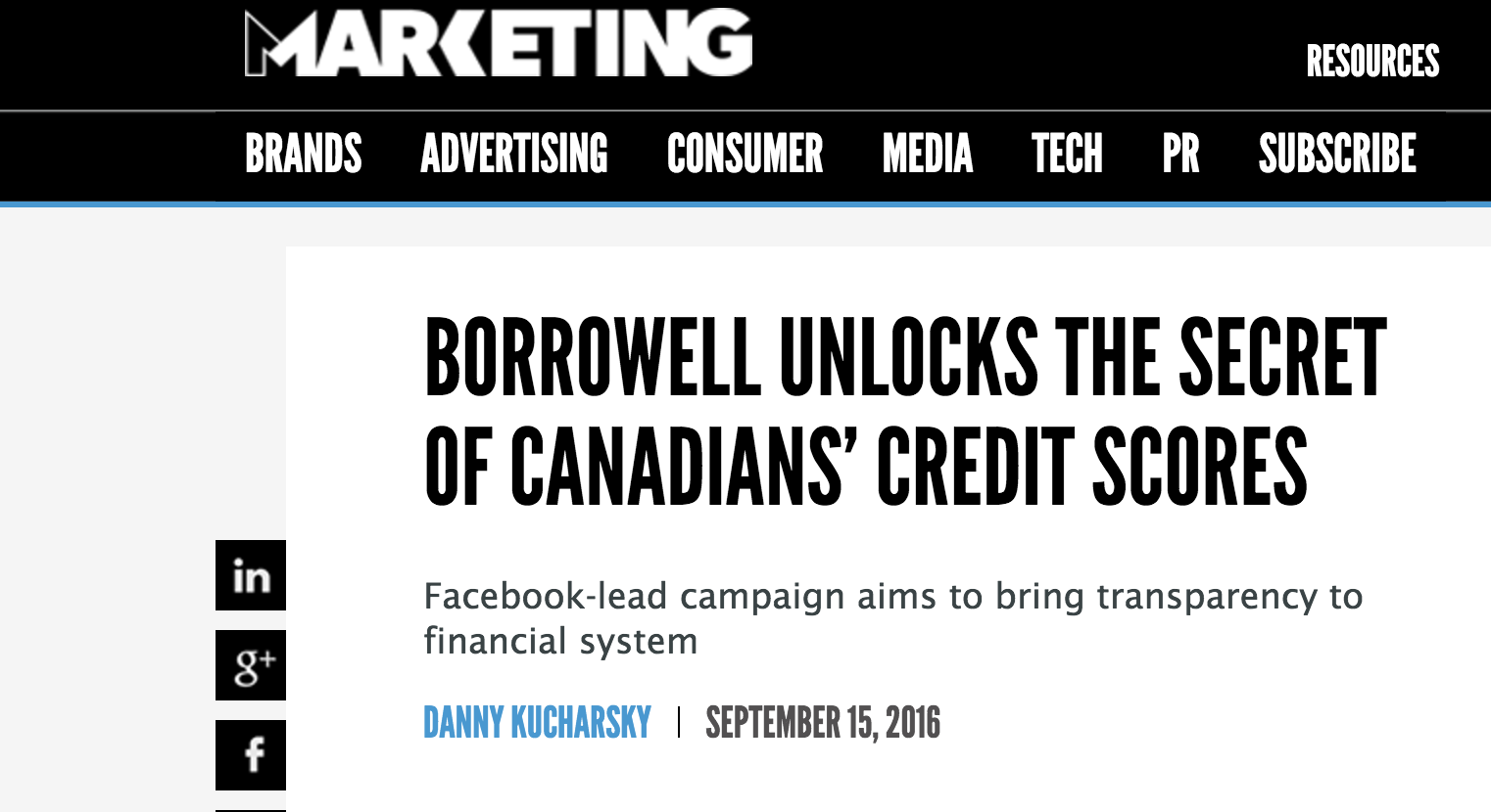 Borrowell Makes Marketing Mag!